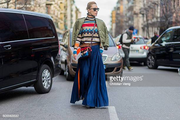 Elina Halimi outside Etro during Milan Men's Fashion Week Fall/Winter 2016/17 on January 18 in Milan Italy