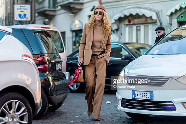 Elina Halimi outside Missoni during Milan Men's Fashion Week Fall/Winter 2016/17 on January 17 in Milan Italy