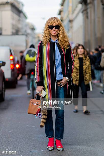 Elina Halimi seen outside Alberta Ferretti during Milan Fashion Week Fall/Winter 2016/17 on February 24 2016 in Milan Italy