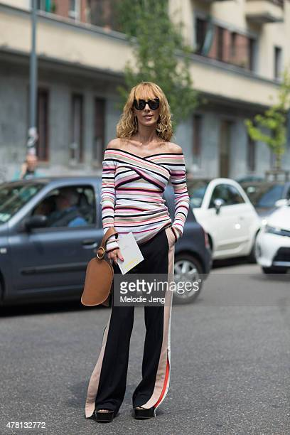 Elina Halimi wears a MSGM outfit on June 22 2015 in Milan Italy