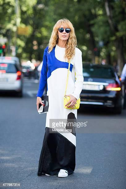 Elina Halimi wears Alexander Wang during Milan Men's Fashion Week Spring/Summer 2016 on June 20 2015 in Milan Italy