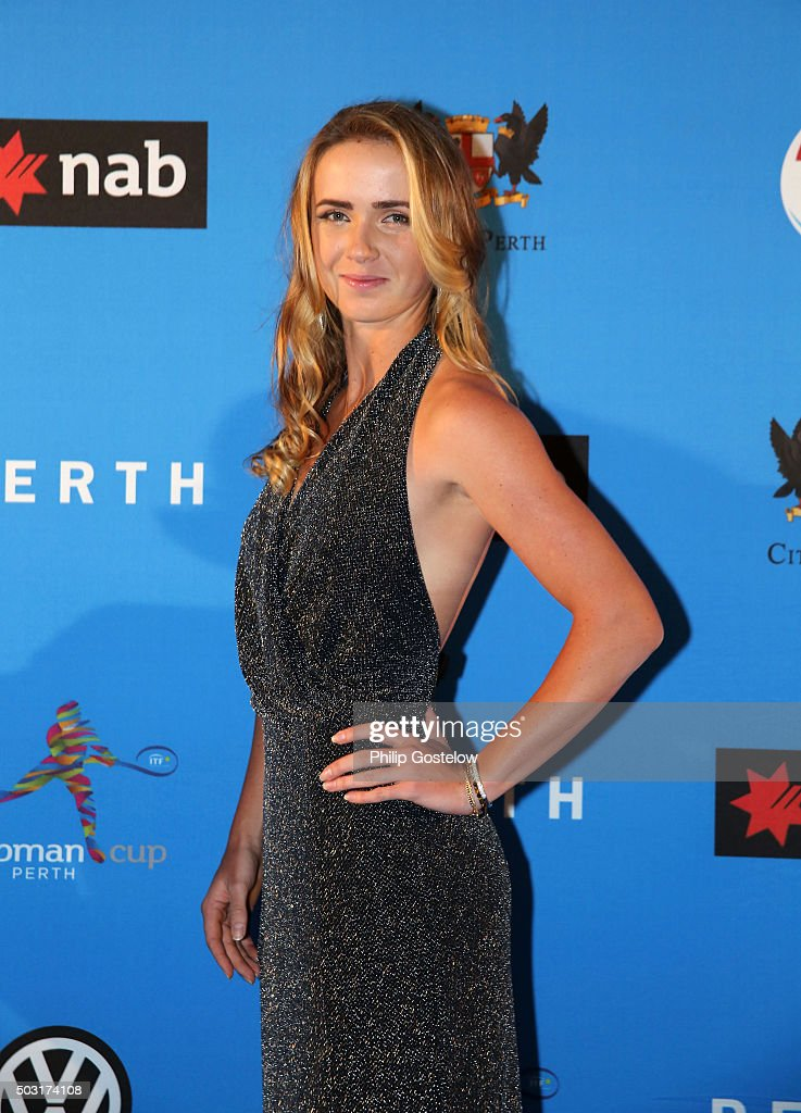 Elina Svitolina (together with Alexandr Dolgopolov representing Ukraine) arrives at the 2016 Hopman Cup Player Party at Perth Crown on January 2, 2016 in Perth, Australia.