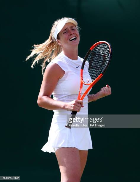 Elina Svitolina celebrates beating Ashleigh Barty on day one of the Wimbledon Championships at The All England Lawn Tennis and Croquet Club Wimbledon