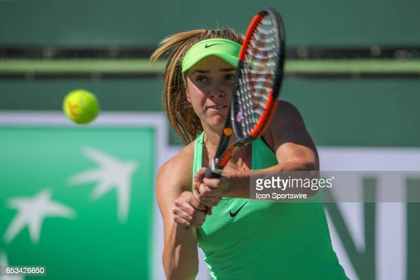 Elina Svitolina hits a backhand during the third round of the BNP Paribas Open on March 12 2017 at Indian Wells Tennis Garden in Indian Wells CA