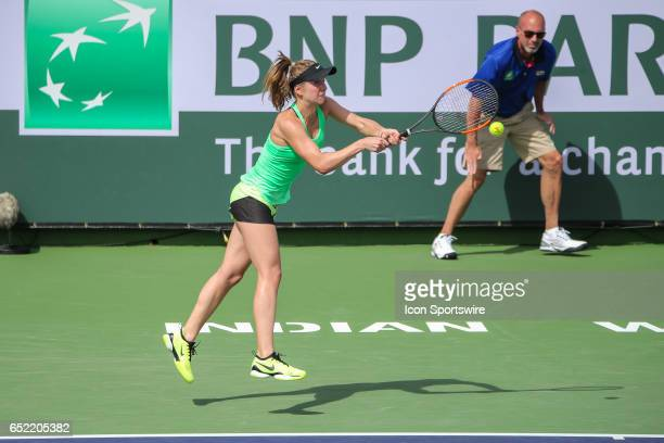 Elina Svitolina hits a backhand in the second round of the BNP Paribas Open on March 10 2017 at Indian Wells Tennis Garden in Indian Wells CA