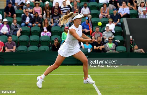 Elina Svitolina in action against Ashleigh Barty on day one of the Wimbledon Championships at The All England Lawn Tennis and Croquet Club Wimbledon