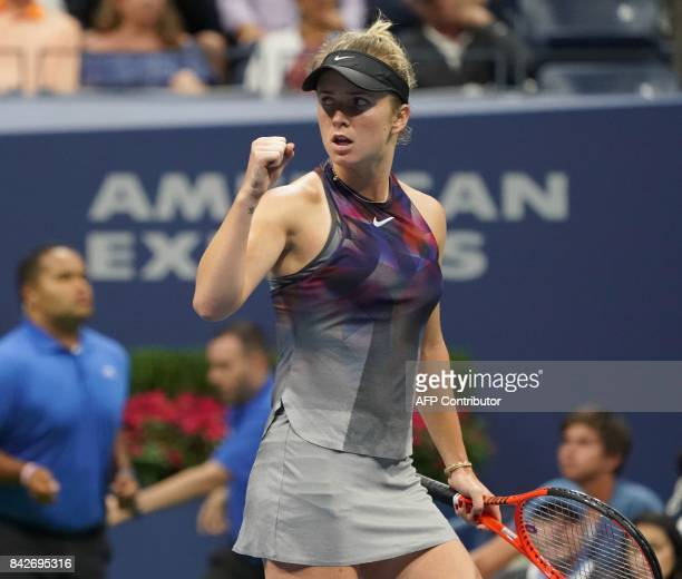 Elina Svitolina of the Ukraine celebrates a point whole playing Madison Keys of the US during their fourth round 2017 US Open Women's Singles match...