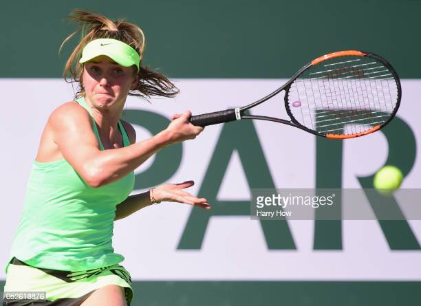 Elina Svitolina of the Ukraine hits a forehand in her match against Daria Gavrilova of Australia during the BNP Paribas Open at Indian Wells Tennis...