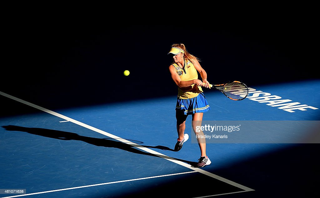<a gi-track='captionPersonalityLinkClicked' href=/galleries/search?phrase=Elina+Svitolina&family=editorial&specificpeople=7026504 ng-click='$event.stopPropagation()'>Elina Svitolina</a> of the Ukraine plays a backhand in her match against Ajla Tomljanovic of Croatia during day three of the 2015 Brisbane International at Pat Rafter Arena on January 6, 2015 in Brisbane, Australia.