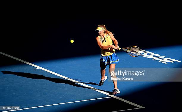 Elina Svitolina of the Ukraine plays a backhand in her match against Ajla Tomljanovic of Croatia during day three of the 2015 Brisbane International...