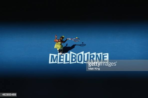 Elina Svitolina of the Ukraine plays a forehand in her second round match against Olivia Rogowska of Australia during day four of the 2014 Australian...