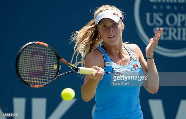 Elina Svitolina of the Ukraine returns a shot to Alison Riske of the United States during Day 5 of the Bank of the West Classic at Stanford...