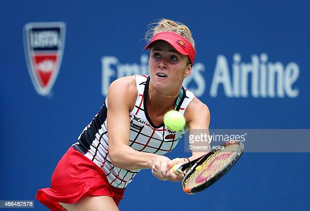 Elina Svitolina of the Ukraine returns a shot to Ekaterina Makarova of Russia during their Women's Singles Third Round match on Day Five of the 2015...