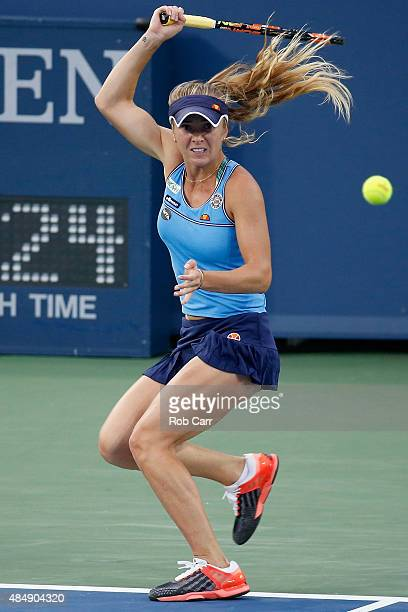 Elina Svitolina of the Ukraine returns a shot to Serena Williams during the semifinals of the Western Southern Open at the Linder Family Tennis...