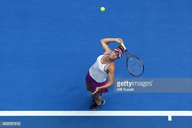 Elina Svitolina of the Ukraine serves in the women's single match against Victoria Duval of the United States during day two of the 2016 Hopman Cup...