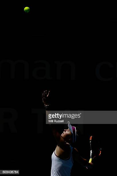 Elina Svitolina of the Ukraine serves in the women's single match against Karolina Pliskova of the Czech Republic during day three of the 2016 Hopman...