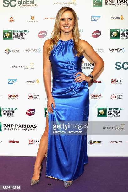 Elina Svitolina of Ukraine arrives for the Official Draw Ceremony and Gala of the BNP Paribas WTA Finals Singapore presented by SC Global at Marina...