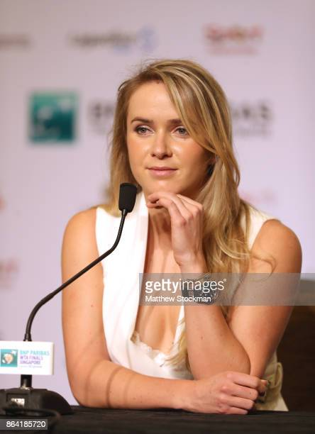 Elina Svitolina of Ukraine attends All Access Hour prior to the BNP Paribas WTA Finals Singapore presented by SC Global at Marina Bay Sands Hotel on...