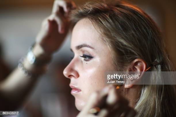 Elina Svitolina of Ukraine attends the Style suite prior to the Official Draw Ceremony and Gala of the BNP Paribas WTA Finals Singapore presented by...