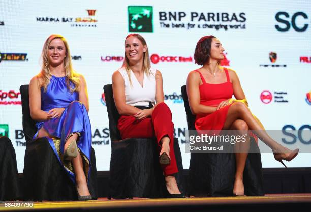 Elina Svitolina of Ukraine Caroline Wozniacki of Denmark and Caroline Garcia of France look on during the Official Draw Ceremony and Gala of the BNP...
