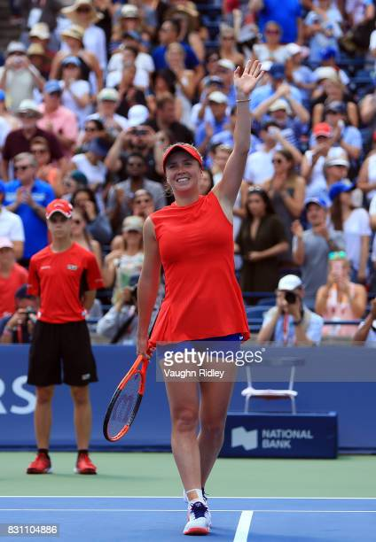 Elina Svitolina of Ukraine celebrates after defeating Caroline Wozniacki of Denmark in the final match on Day 9 of the Rogers Cup at Aviva Centre on...