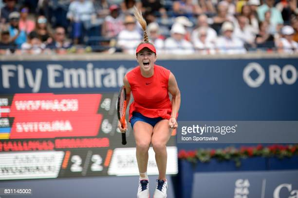 Elina Svitolina of Ukraine celebrates after winning the 2017 Rogers Cup tennis tournament final on August 13 at Aviva Centre in Toronto ON Canada