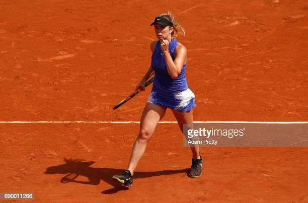 Elina Svitolina of Ukraine celebrates during the ladies singles first round match against Yaroslava Shvedova of Kazakhstan on day three of the 2017...