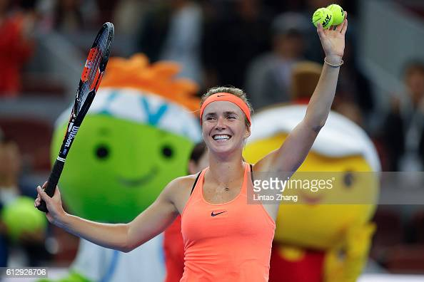Elina Svitolina of Ukraine celebrates her win over Angelique Kerber of Germany during the Women's singles third round match on day six of the 2016...