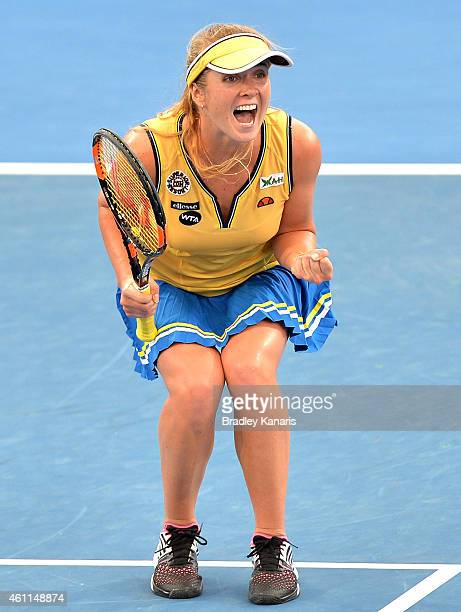 Elina Svitolina of Ukraine celebrates victory after defeating Angelique Kerber of Germany during day five of the 2015 Brisbane International at Pat...