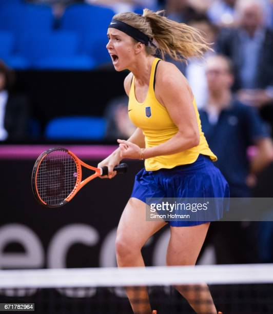 Elina Svitolina of Ukraine celebrates victory against Angelique Kerber of Germany during the FedCup World Group PlayOff match between Germany and...