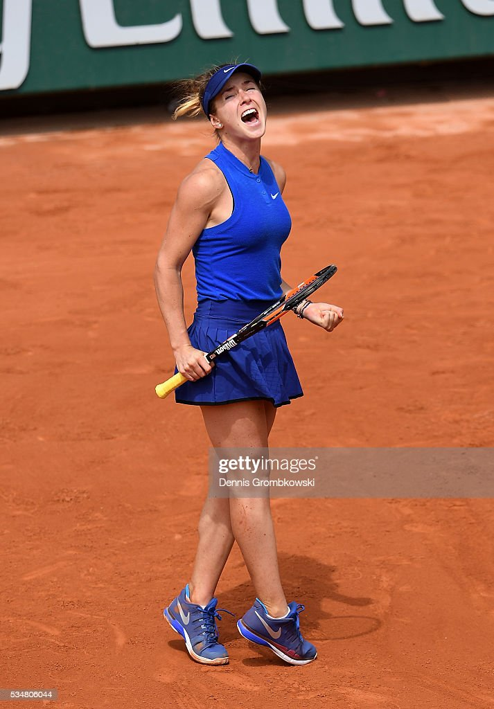 <a gi-track='captionPersonalityLinkClicked' href=/galleries/search?phrase=Elina+Svitolina&family=editorial&specificpeople=7026504 ng-click='$event.stopPropagation()'>Elina Svitolina</a> of Ukraine celebrates victory during the Ladies Singles third round match against Ana Ivanovic of Serbia on day seven of the 2016 French Open at Roland Garros on May 28, 2016 in Paris, France.