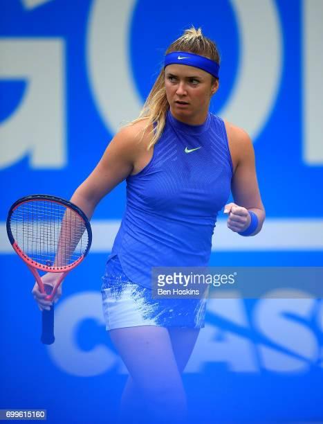 Elina Svitolina of Ukraine celebrates winning a point during the second round match against Camila Giorgi of Italy on day four of The Aegon Classic...