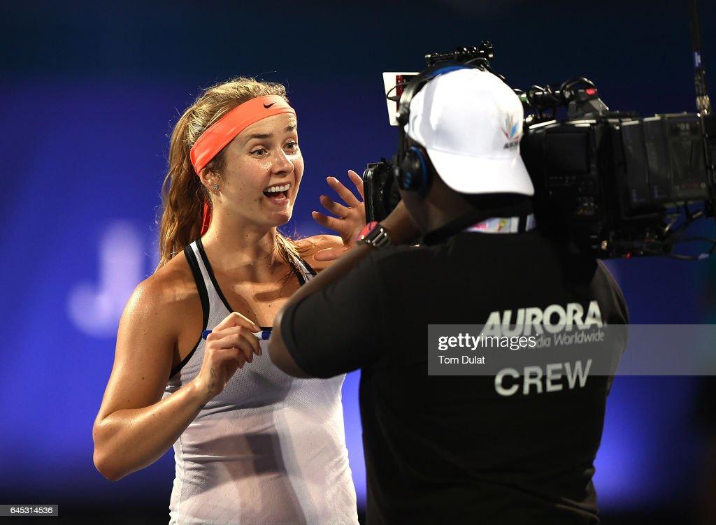 Elina Svitolina of Ukraine celebrates winning the final match against Caroline Woznacki of Denmark on day seven of the WTA Dubai Duty Free Tennis Championship at the Dubai Tennis Stadium on February 25, 2017 in Dubai, United Arab Emirates.
