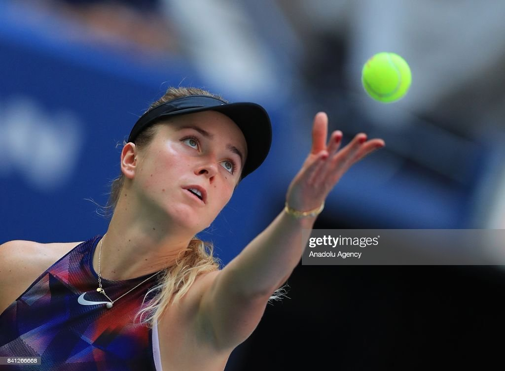 Elina Svitolina of Ukraine competes against Evgeniya Rodina (not seen) of Russia in Women's tennis match within 2017 US Open Tennis Championships at Arthur Ashe Stadium in New York, United States on August 31, 2017.