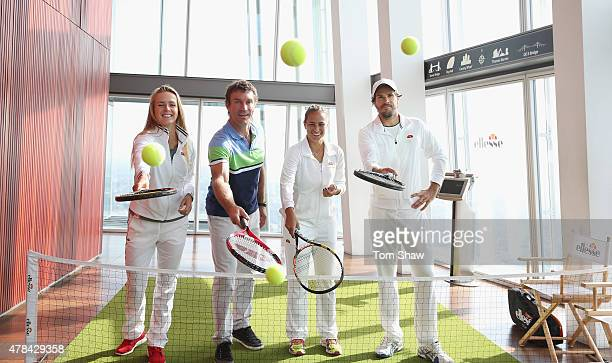 Elina Svitolina of Ukraine Former Wimbledon Champion Pat Cash Monica Puig of Puerto Rico and Tommy Haas of Germany play tennis during an ellesse...