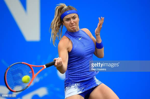 Elina Svitolina of Ukraine hits a forehand during the second round match against Camila Giorgi of Italy on day four of The Aegon Classic Birmingham...