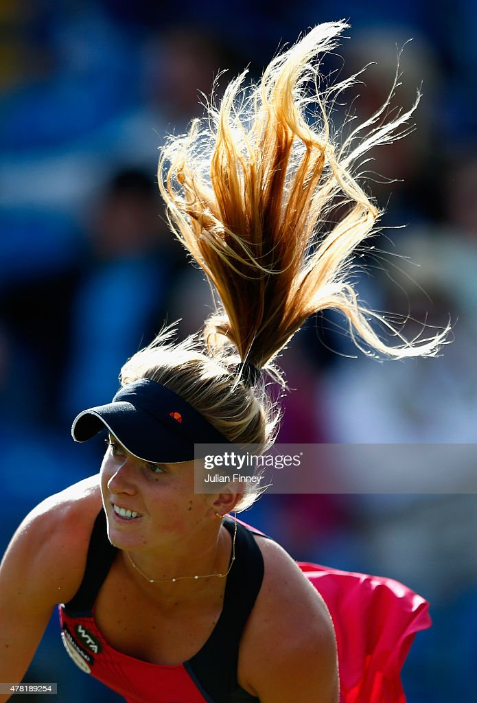 <a gi-track='captionPersonalityLinkClicked' href=/galleries/search?phrase=Elina+Svitolina&family=editorial&specificpeople=7026504 ng-click='$event.stopPropagation()'>Elina Svitolina</a> of Ukraine in action against Heather Watson of Great Britain during the Aegon International day three at Devonshire Park on June 23, 2015 in Eastbourne, England.