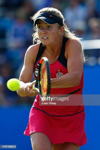 Elina Svitolina of Ukraine in action against Heather Watson of Great Britain during the Aegon International day three at Devonshire Park on June 23...