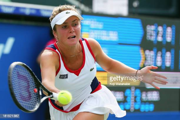 Elina Svitolina of Ukraine in action during her women's singles first round match against Kurumi Nara of Japan during day one of the Toray Pan...