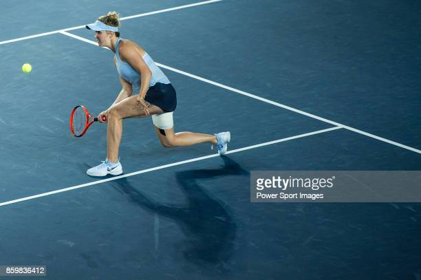 Elina Svitolina of Ukraine in action during the Prudential Hong Kong Tennis Open 2017 match between Elina Svitolina of Ukraine and Zarina Diyas of...