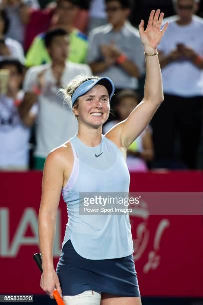 Elina Svitolina of Ukraine leaves the court after winning Zarina Diyas during the Prudential Hong Kong Tennis Open 2017 match between Elina Svitolina...