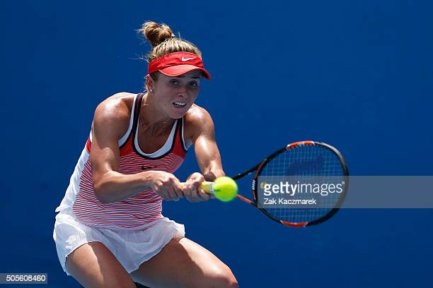 Elina Svitolina of Ukraine plays a backhand in her first round match against Victoria Duval of the United States during day two of the 2016...