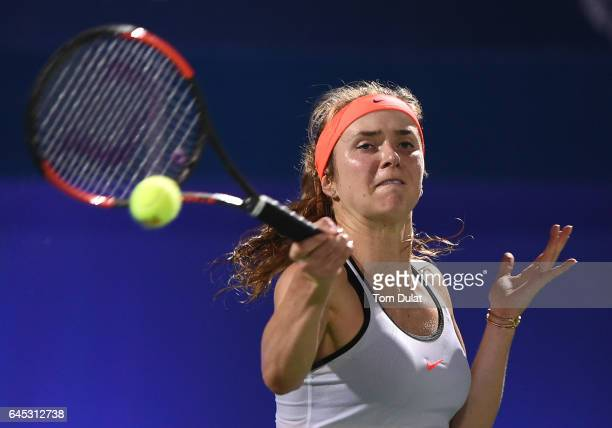 Elina Svitolina of Ukraine plays a forehand during her final match against Caroline Woznacki of Denmark on day seven of the WTA Dubai Duty Free...
