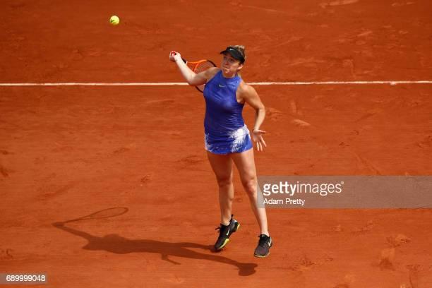 Elina Svitolina of Ukraine plays a forehand during the ladies singles first round match against Yaroslava Shvedova of Kazhakstan on day three of the...