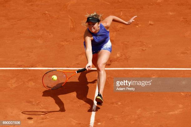Elina Svitolina of Ukraine plays a forehand during the ladies singles first round match against Yaroslava Shvedova of Kazakhstan on day three of the...