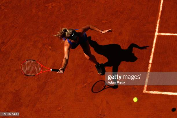 Elina Svitolina of Ukraine plays a forehand during the ladies singles second round match against Tsvetana Pironkova of Bulgaria on day five of the...