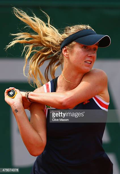 Elina Svitolina of Ukraine plays a forehand in her Women's Singles match against Annika Beck of Germany on day six of the 2015 French Open at Roland...