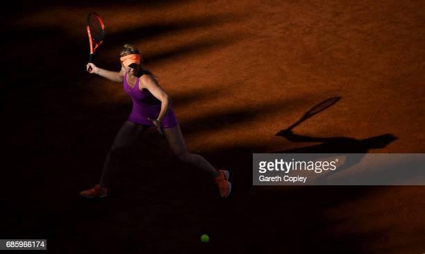 Elina Svitolina of Ukraine plays a shot during her semi final match against Garbine Muguruza of Spain in The Internazionali BNL d'Italia 2017 at Foro...
