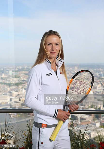 Elina Svitolina of Ukraine poses for a portrait during an ellesse photo call at The View from The Shard on June 25 2015 in London England ellesse...