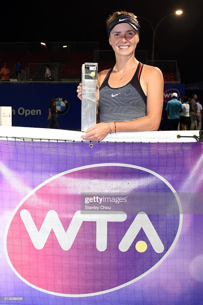 Elina Svitolina of Ukraine poses with the Singles Champion Trophy after she defeated Eugenie Bouchard of Canada during the Singles Final of the 2016 BMW Malaysian Open at Kuala Lumpur Golf & Country Club on March 6, 2016 in Kuala Lumpur, Malaysia.
